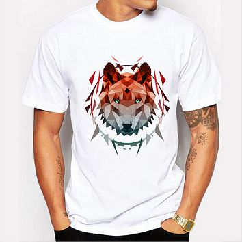 Wolf sketch design animal printed Men t-shirt short sleeve tops