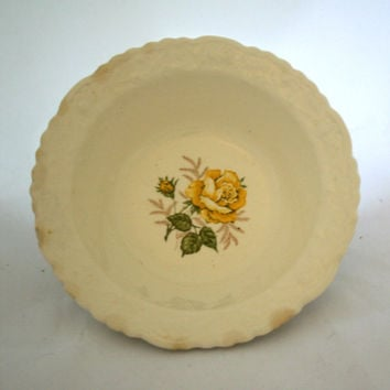Steubenville Rosepoint Bowl Yellow Rose Bowl Shabby Chic Oven Proof Dishwasher Safe 1966 Romantic Dish Decorative Edging Yellow Floral Bowl