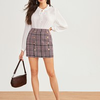 Double Button Plaid Tweed Sheath Skirt
