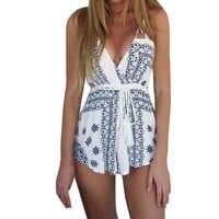 Women's Black And White Print Beach Romper, S - XL