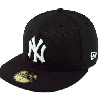 New Era NEW YORK YANKEES NY 5950 Black White Cap MLB Baseball Fitted Hat
