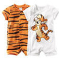 Free Shipping Baby Boys Girls Short Sleeve Cartoon Tiger Infant Romers Newborn Clothing - Default