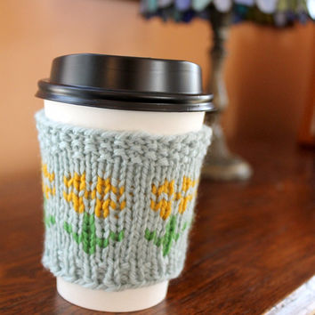 Flower Coffee Cozy, Knit Sunflower Cozy, Knitted Cup Sleeve, Spring Gift for Her, Spring Teacher Gift, Mother Gift
