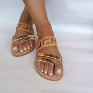 "Original ancient greek sandals ""Cassia"". Elegance and comfort for your feet. Handmade in Greece with unique meandros strappy!"