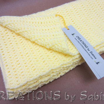 """Baby Crochet Afghan Blanket, Lap Blanket Throw, 31x34"""", Soft Yellow READY TO SHIP (20)"""