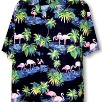 Men's Pink Flamingo Paradise Hawaiian Aloha Poplin Cotton Shirt