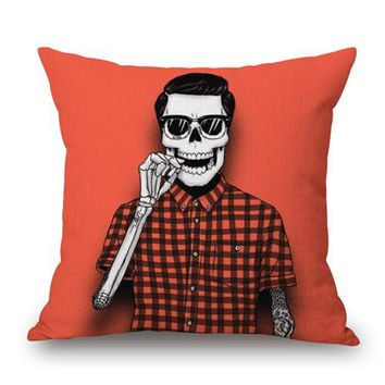 """Square 18"""" New Print Style Color Skulls Cushions Linen Cushion Cover Family Badges Throw Pillow For Living Room Customized - 1"""