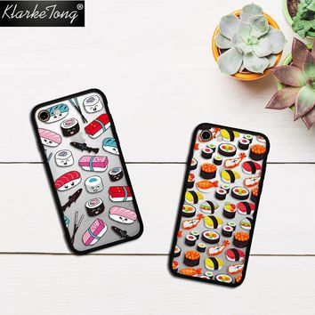 KlarkeTong Cartoon Food Pizza Sushi Case For iPhone 8 7 6 6s Plus 5 5s SE Hybrid Silicone Matte Hard Luxury Phone Cover Quotes