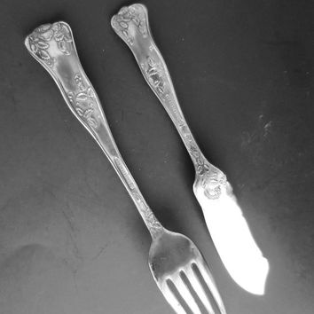 Silver Plate Butter Knife, Fork Royal Plate Rosalie Pattern 1905 Traditional Pattern Silverware Antique Flatware Royal Plate Rosalie 2 Pcs