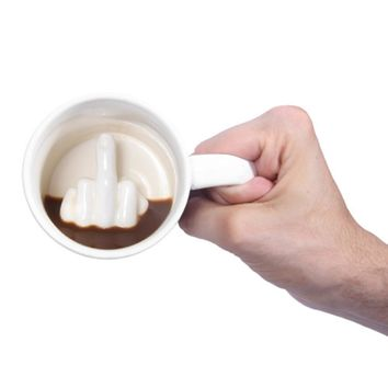 Middle Finger Office Prank Mug