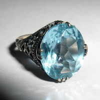 RING - SKY BLUE - Faceted - Filigree -  925 - Sterling Silver  - Size 7