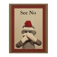 """See No"" WOOD WALL ART"