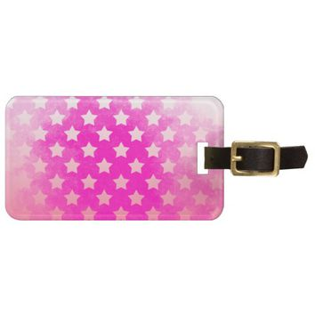 *Cute Pink Mirror Stars Collection Luggage Tag