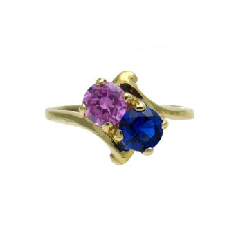 Sapphire Rubellite Romeo and Juliet Gold Ring, Vintage, 1930s to 1980s