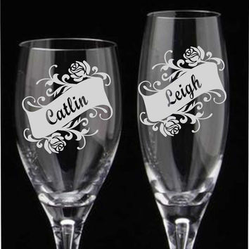 Personalized Etched Bridesmaid Glasses, Custom Bridesmaid Gift, Wedding Glasses, Champagne Flutes, Etched Wine Glass, Wedding Party Glasses