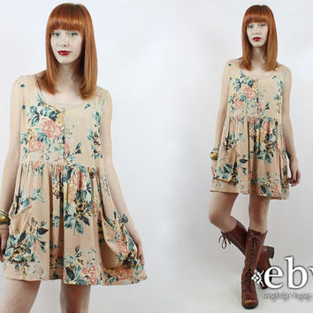 Vintage 90s Nude Floral Babydoll Dress XL 1X 90s Grunge Dress 90s Floral Dress Floral Mini Dress Plus Size Dress Plus Size Vintage