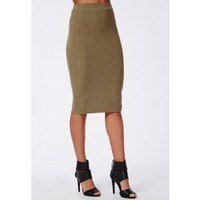 Ribbed Bodycon Midi Skirt Khaki - Skirts - Missguided