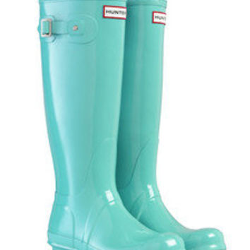 HUNTER ORIGINAL GLOSS TALL MINT WELLINGTON BOOTS  Welly BLUE -- LAST PAIR