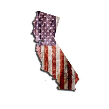 California Distressed Tattered Subdued USA American Flag Vinyl Sticker
