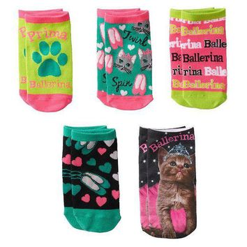 Pink Cookie 5 Pk. ''ballerina'' Cat Princess No Show Socks   Girls Size: