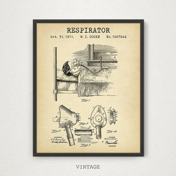 Respirator Patent Digital Download, Medical Art, Doctor Gift, Medical Student Gift Idea, Graduation Gift, Vintage Wall Art Gallery, Hospital