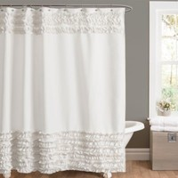 Amelie Ruffle 54-Inch x 78-Inch Shower Curtain in White