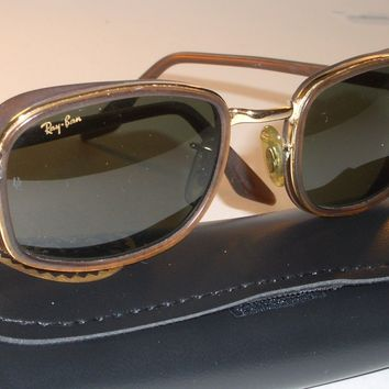 VINTAGE B&L RAY BAN W2812 BROWN/GOLD COMBO G15 UV RECTANGULAR DINERs SUNGLASSES