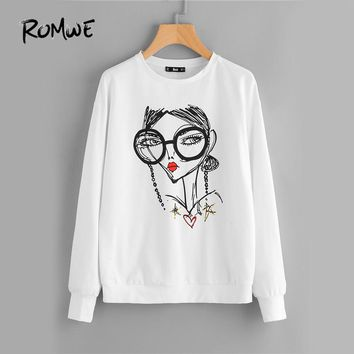 Glasses Girl Print White Sweatshirt Woman Casual Cute Drop Shoulder Pullover Autumn Long Sleeve Graphic Sweatshirt