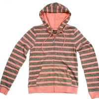 Volcom Juniors Stripes A Dot Zip Hoodie (Small, Orange)