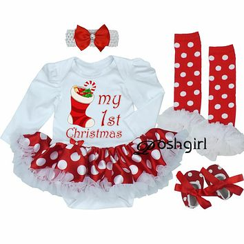 My First Christmas Baby Girl Clothes Set Lace Romper Dress Headband Leg  Warmers Crib Shoes Girls 3ab024b25
