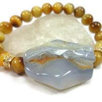 Tiger eye and Chalcedony Beaded Bracelet With CZ Pave Gold Beads/Blue and Gold