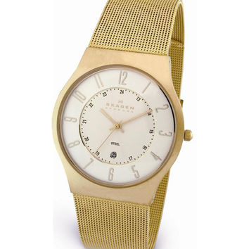 Skagen 233XLGG Men's Denmark Gold Tone Stainless Steel White Dial Quartz Watch