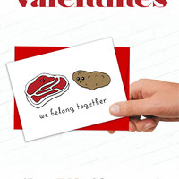 We Belong Together Valentine, Cute Valentines Day Cards, Steak and Potatoes Food Valentine, Illustrated Greeting Card, Cartoon Valentines