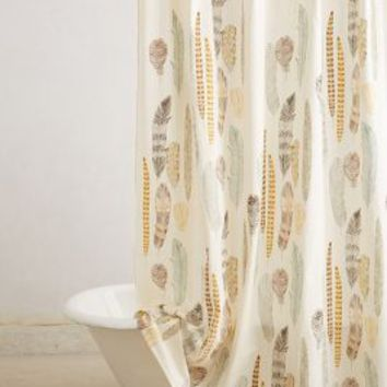 Fallen Quills Shower Curtain by Anthropologie Beige One Size Shower Curtains