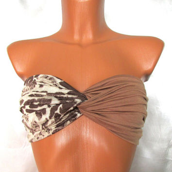 Twisted Bandeau In Sandy Brown and Animal Print Sexy Summer Top Festival Top Beach Wear Beach Bras Tube Tops Twisted Tops