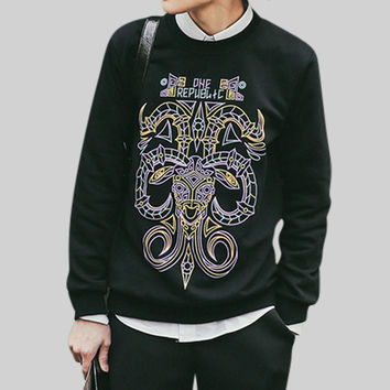 Fashion Tribal Mask Print Sweatshirt