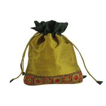 SILK Gift Bag; Multi Utility Embroidered POUCH: Gold