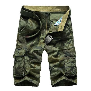 SAGUARO Camouflage Cargo Shorts Men Summer Casual  Loose Work Shorts Multi-pocket Military Short Pants Overalls Plus Size 29-40