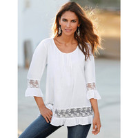 SIMPLE - Popular Fashionable Summer Lace White T-shirt b2623