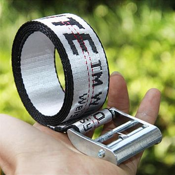 OFF WHITE Fashion New More Letter Women Men Word Personality Belt Silver&White