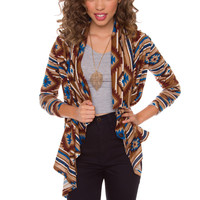 Meg Aztec Cardigan - Brown