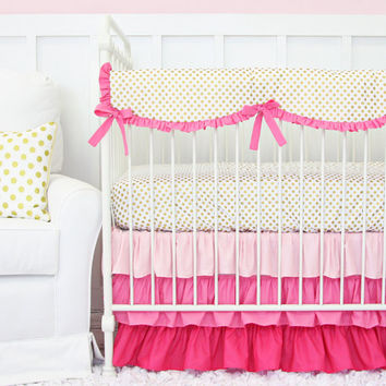 Pink and Gold Dot Ruffle Designer Baby Bedding - SWATCH KIT, Metallic Gold Bedding Sample, Hot Pink Ruffle Fabric