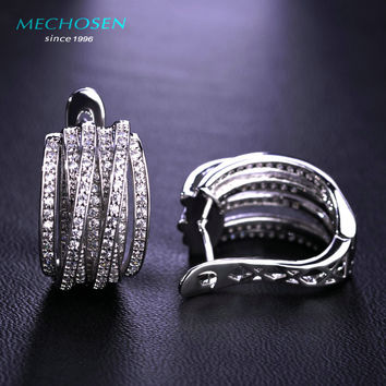 MECHOSEN Multilayer Crystals Stud Earrings For Women Cool CZ Diamond Ears Piercing European and American Jewelry Earing Brincos