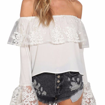 Peni Off The Shoulder Lace Ruffle Top