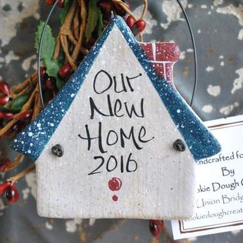 Personalized New Home First Home Salt Dough Ornament Birdhouse Housewarming Gift for Neighbors