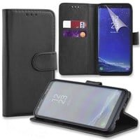Connect Zone® Black PU Leather Wallet Flip Case Cover for Samsung Galaxy A6 Plus 2018 with Screen Guard, Polishing Cloth