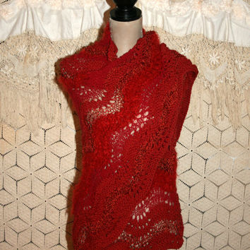 Christmas Shawl Holiday Wrap Hand Knit Shawl Red Triangle Shawl Prayer Shawl Unique Shawl Knitted Red Shawl Bohemian Shawl Bohemian Clothing