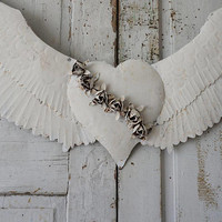 White angel wings wall hanging French Nordic rusty distressed large wing set embellished heart w/ shabby roses home decor anita spero design