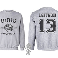 Lightwood 13 Idris University Crew neck Sweatshirt Light Steel