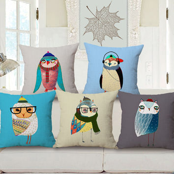 Winter Wonderland Owl Theme Curated Cushion Covers for Kids Room Home Décor